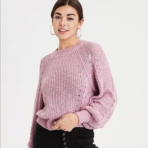 American eagle outfitters pink cable knit sweater